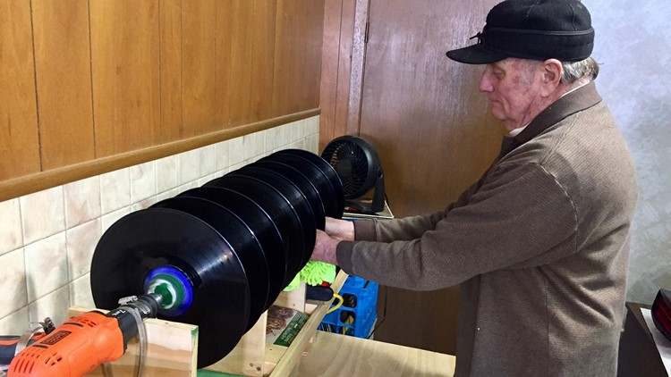 Bob Knutson rigged up a record cleaning device using an electric drill