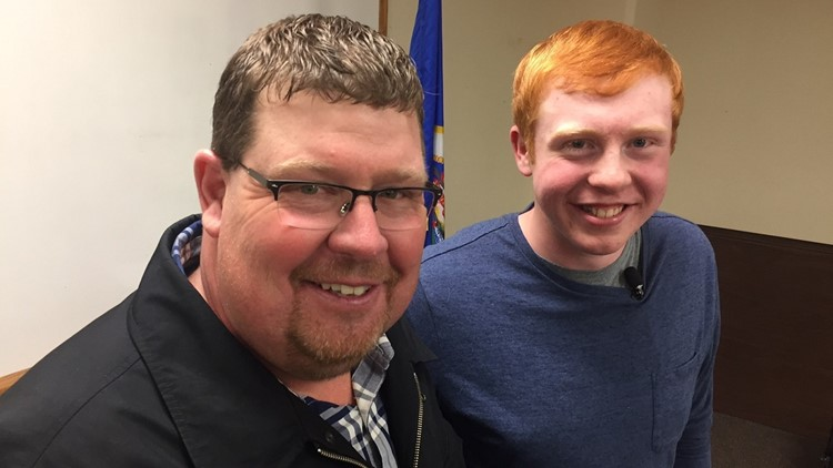 Tom Geislinger (left) with Ryley Pollock, who saved his life.