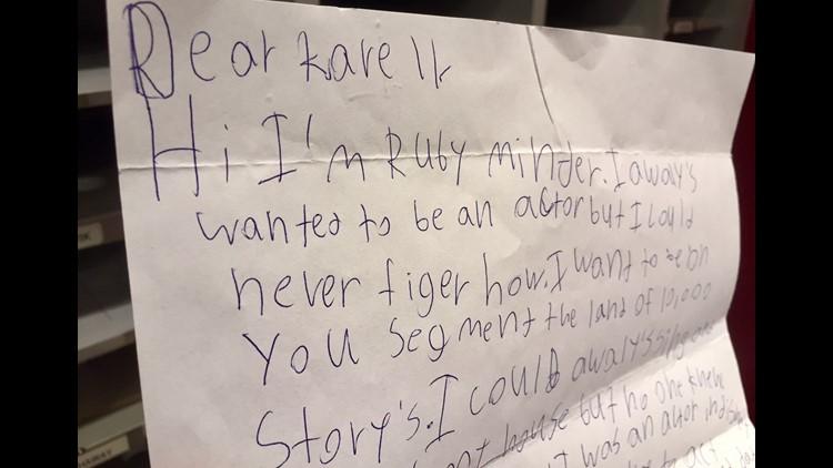 Ruby Minder's letter to KARE TV.  (Photo: Boyd Huppert, KARE 11)