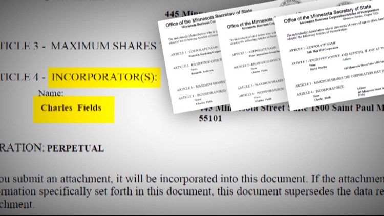 Public records show Charles Fields of Blaine, MN incorporated all three companies.