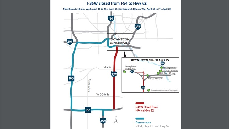 Closures set for I-35W, from Hwy. 62 to I-94 | kare11.com on city traffic map, new orleans traffic map, manila traffic map, washington traffic map, dallas fort worth traffic map, hampton roads traffic map, minneapolis real-time traffic, hawaii traffic map, massachusetts traffic map, minneapolis roads, minneapolis events, las vegas traffic map, minneapolis library, minneapolis weather, texas traffic map, galveston traffic map, san francisco bay area traffic map, buffalo traffic map, orlando traffic map, mississippi traffic map,