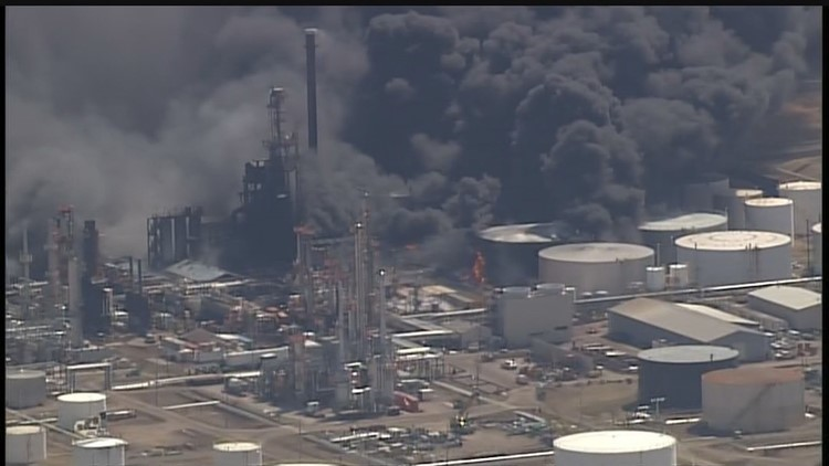 U.S.  refinery explosion and fire injures 15, causes evacuation