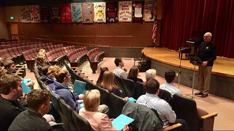 Dennis Frandsen addresses members of the Rush City, MN senior class