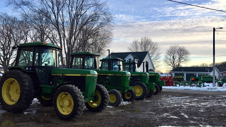 Jay and Lisa Huppert's tractors lined up for the auction