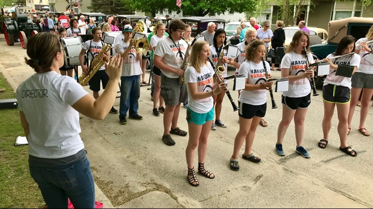 The Lanesboro HIgh School Band not marching at the Whalan Stand Still Parade