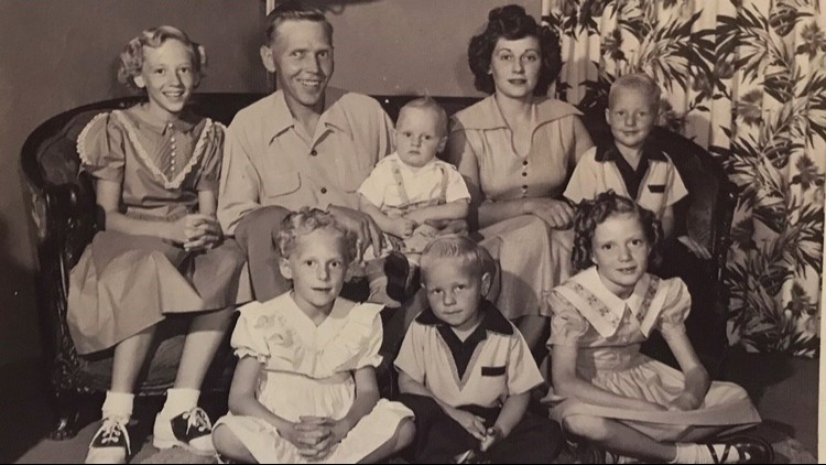 Linda Jourdeans (lower right) was the only redhead in her family.
