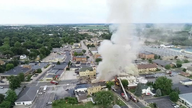 A contractor punctured a natural gas line in downtown Sun Prairie on Tuesday evening, leading to an explosion and ensuing fire that damaged at least five buildings and killed a firefighter.
