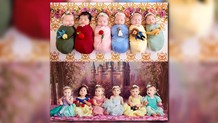 The magical photo shoot is very similar to the one in 2017, which featured the infants, all under 2 weeks old at the time, dressed as Jasmine, Belle, Cinderella, Aurora, Snow White, and Ariel.