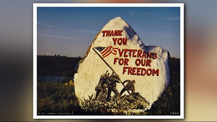Artist Bubba Sorensen's first Freedom Rock, painted in 1999