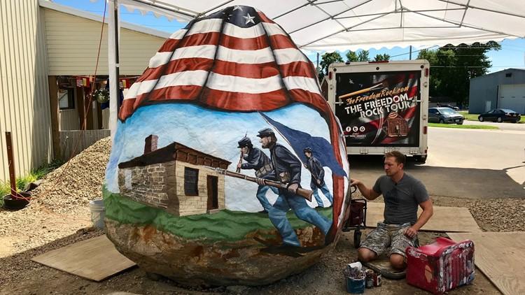 Bubba Sorensen paints a 37,000 pound Freedom Rock