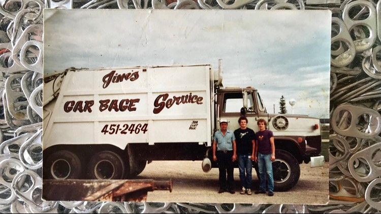 Jim Spinler (left) pictured in his days as Medford's garbage man