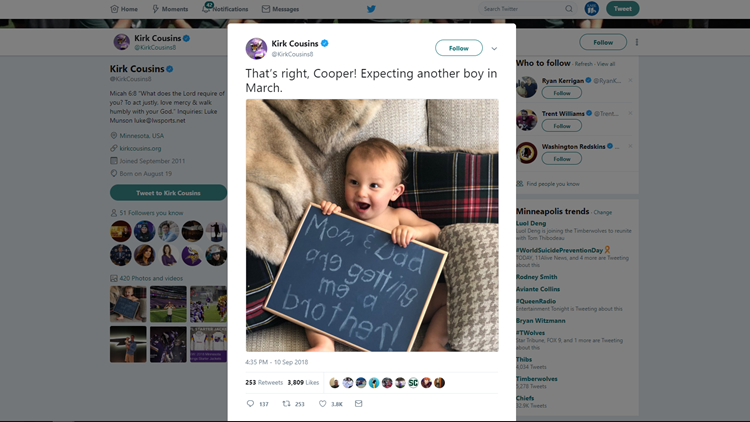 """Cousins tweeted a photo of his nearly 1-year-old son, Cooper, with a sign that reads, Mom and Dad are getting me a brother!"""""""