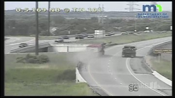 RAW: Semi driver with apparent medical issue swerves down