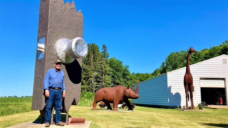Metal sculptor populates town of 78 people with creatures of a different kind