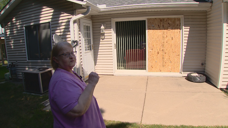 Close call in Coon Rapids after tire rips through window