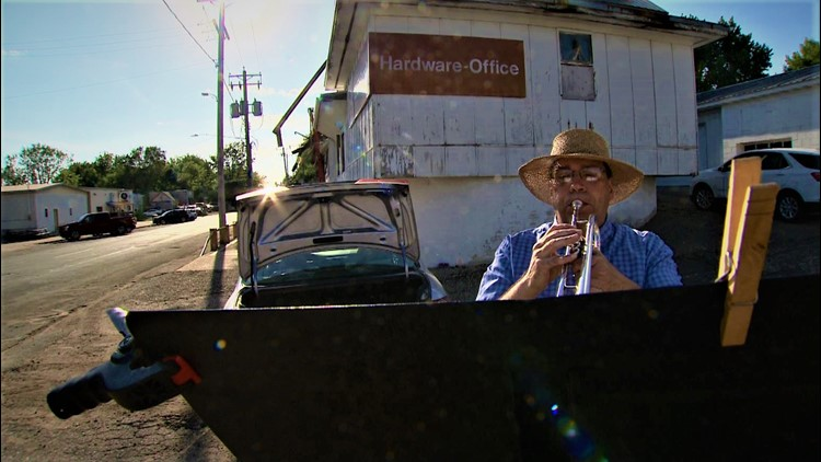 When COVID silenced his bands, a western Wisconsin trumpet player made an entire small town his stage
