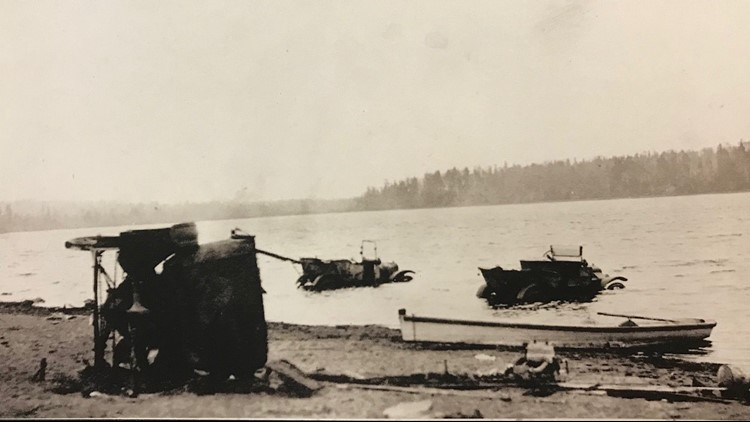 Cars driven into the Moosehead lake during the 1918 fires