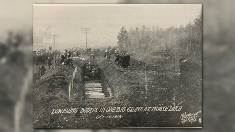 Mass burial of fire victims in Moose Lake, Minnesota