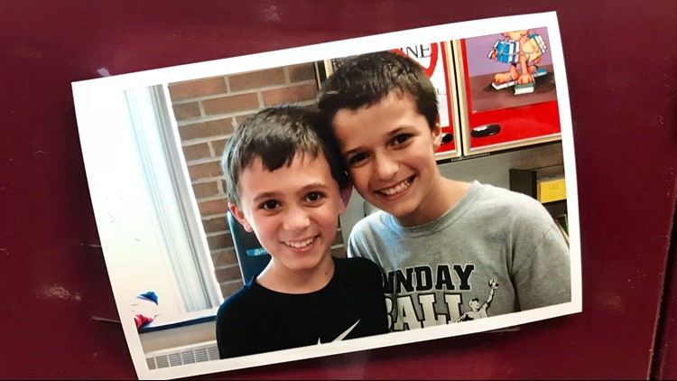 Adam Potter (left) in elementary school with his best friend Trey Kruse