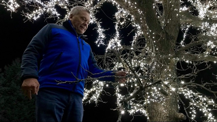 Jerry Lageson under his lit oak tree