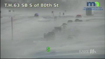 RAW: Whiteout conditions on Hwy 63 in Rochester