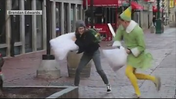 Pillow fight! Guy dressed as Buddy the Elf brightens streets of Boston