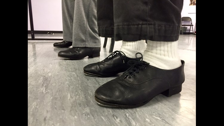 85-year-old Arne Mayala sports a pair of tap dancing shoes for the first time in his life