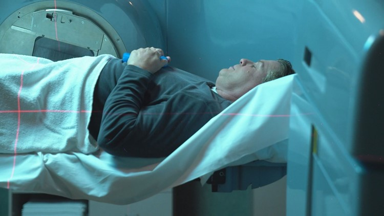 Randy Shaver undergoes radiation treatment at Minnesota Oncology in Maplewood.