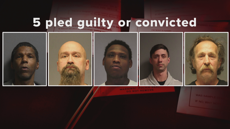 Five who pleaded guilty or were convicted