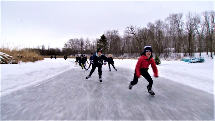 Inspired by COVID closings, skate path on Warroad River is 2½ miles of winter fun