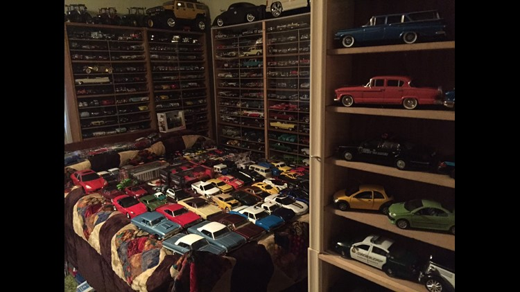 Scale model cars in a bedroom of Dennis Erickson's home.