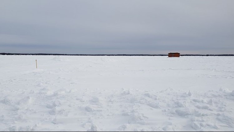 Covered ice roads on Mille Lacs