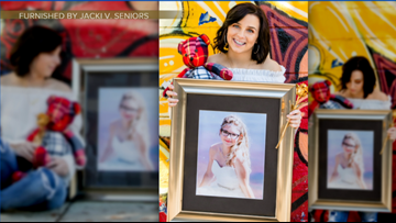'We're still together.' Teen poses with best friend in senior photo - two years after her death