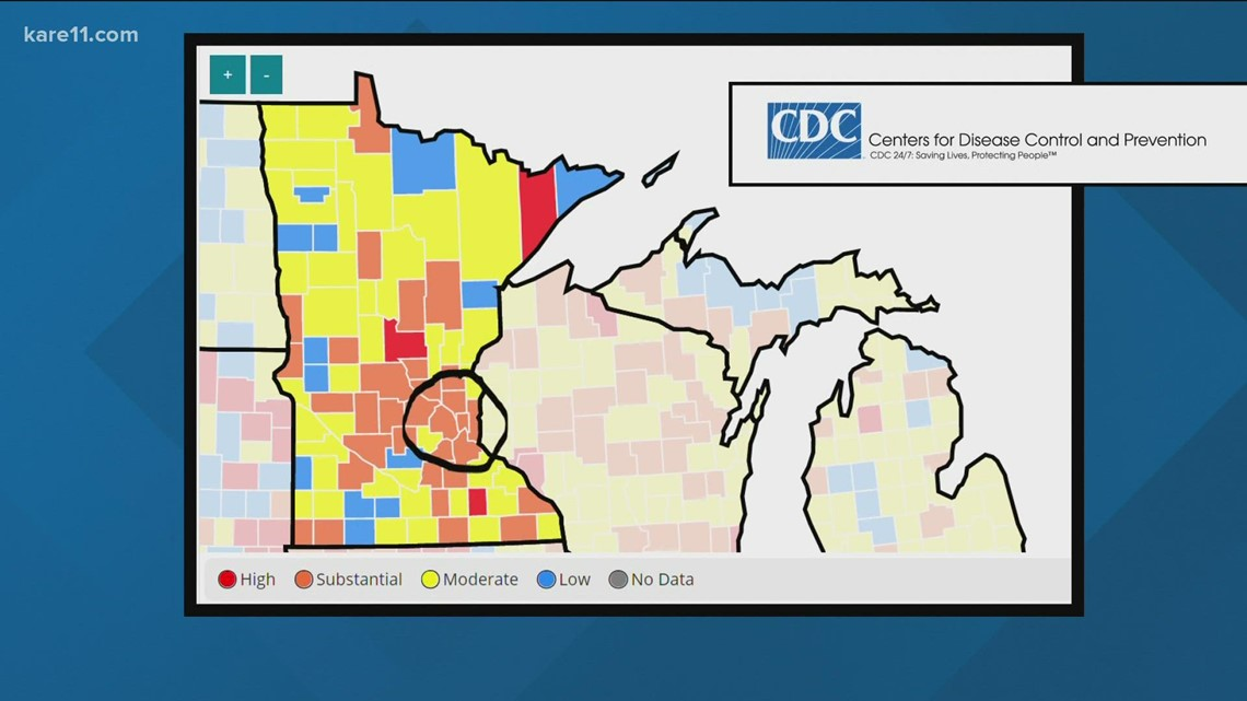 Minnesota counties with 'substantial' or 'high' COVID transmission fall under CDC mask guidance