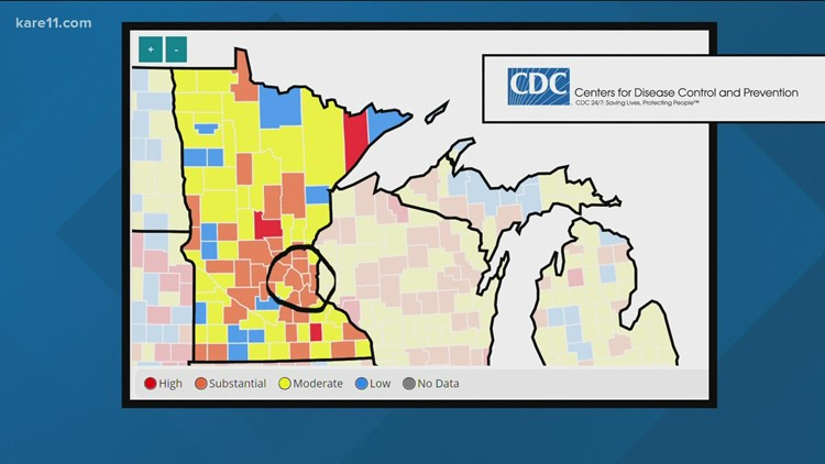COVID-19 now spreading at 'substantial' and 'high' levels in 35 Minnesota counties