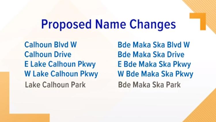 Proposed name changes at Bde Maka Ska