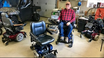Man restores, donates dozens of power wheelchairs - from a wheelchair