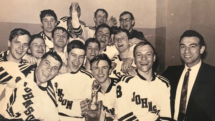 Coach Lou Cotroneo (far right) and his 1968 Johnson High School hockey team.  The team had just clinched the Region Four Championship.