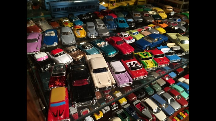 Scale model cars collected by Dennis Erickson.