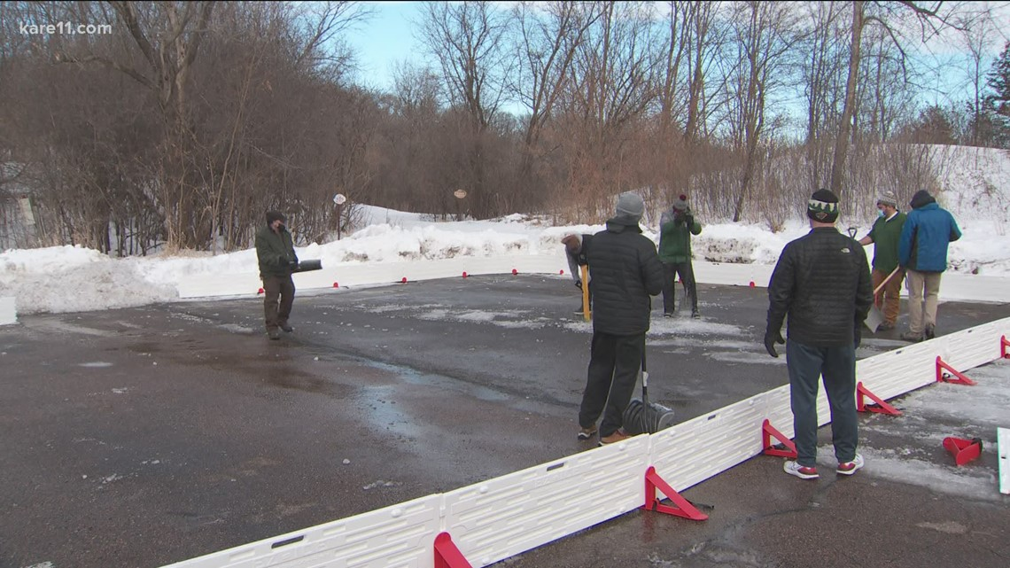 On eve of home opener, Wild employees build outdoor rink for Boys & Girls Club