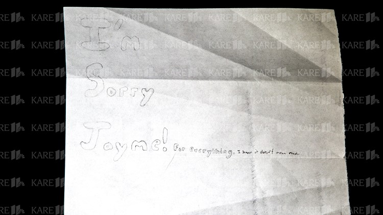 """I'm sorry Jayme"" on back of Jake Patterson letter"