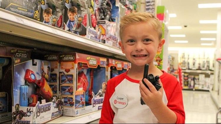 Cooper Rickman Target Birthday using walkie talkie