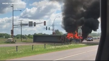 Semi rollover, fire shuts down Highway 36 for hours