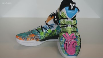Midwest Special Services artists makes shoes for WNBA player Jewell Lloyd