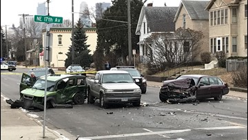 Vehicle fleeing police triggers violent crash in northeast Mpls.