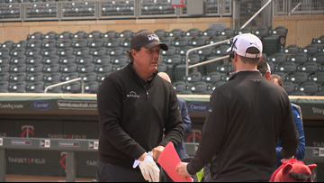 Phil Mickelson and Stacy Lewis Tee Off at Target Field