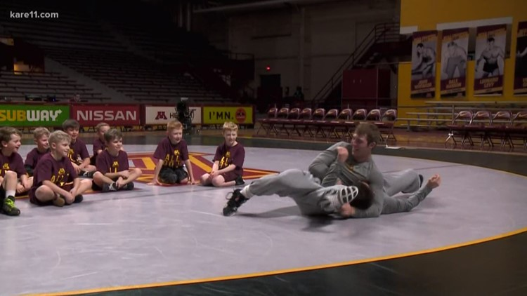 Gopher wrestlers stage clinic for young grapplers