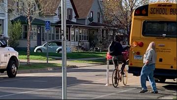 Bicyclist attacks school bus... again