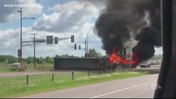 Semi crash, fire shuts down Highway 36