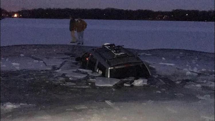 SUV through O'Dowd lake
